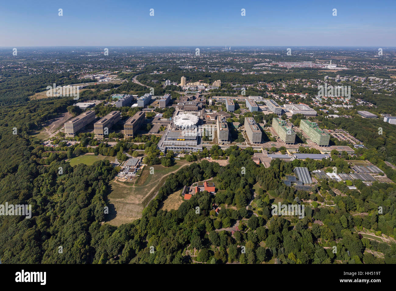 Ruhr university Bochum with Audi-Max, campus, RUB, Bochum, Ruhr area, Germany, Europe, bird-eyes view, aerial photo, - Stock Image