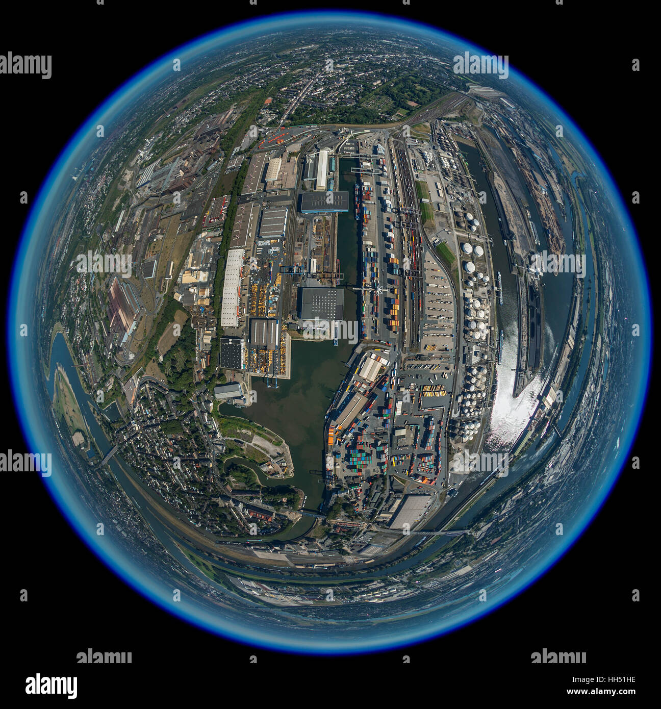 Duisport, inland port of Duisburg, the largest inland port in europe, the Port of Duisburg as a globe, fisheye image, - Stock Image