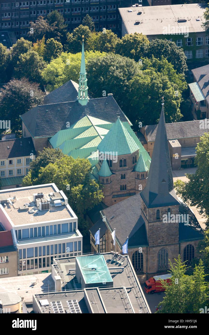 Essen Cathedral Burgplatz, Diocese of Essen, Church, Essen, Ruhr area, North Rhine-Westphalia, Germany, Europe, - Stock Image