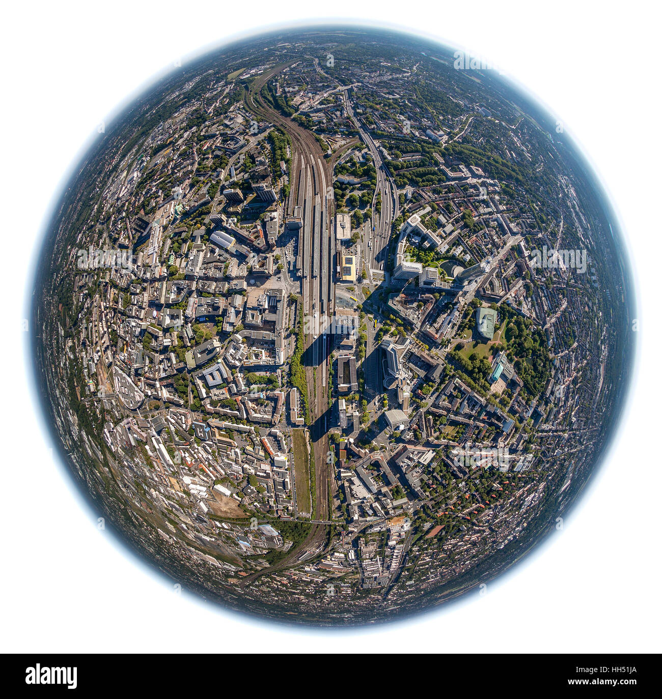 Fisheye images, Essen city, City with Cathedral and Philharmonic Hall and City Hall and Central Station, Essen, - Stock Image