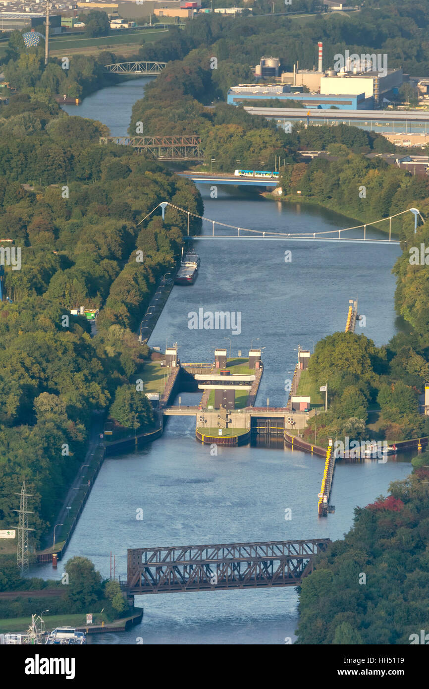 Rhine-Herne Canal sluice Gelsenkirchen, Ruhr area, North Rhine-Westphalia, Germany, Europe, birds-eyes view, aerial - Stock Image
