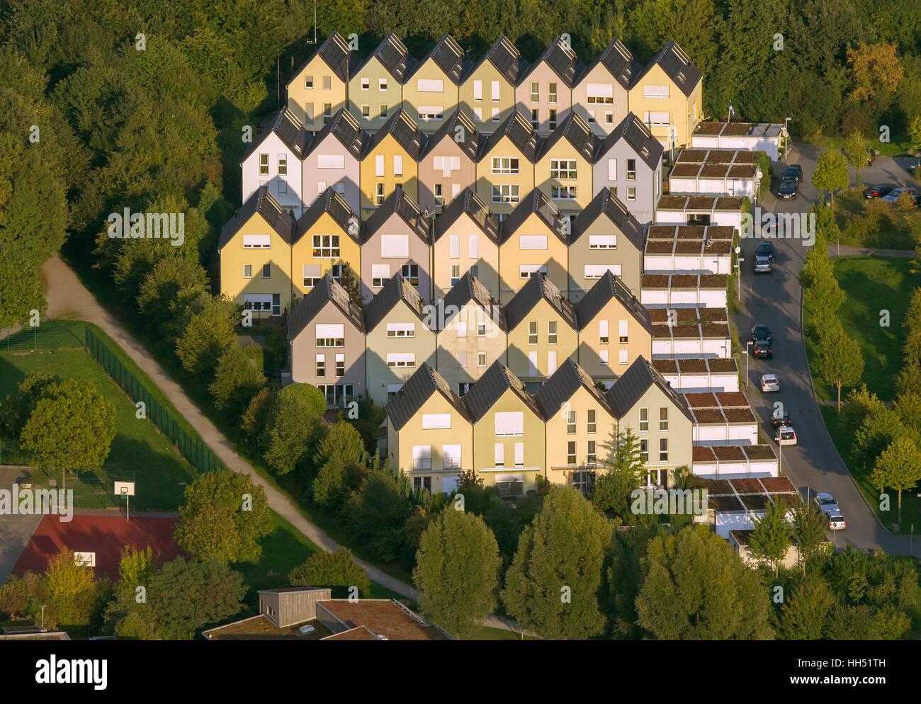 Solar settlement Gelsenkirchen-Bismarck Sonnenhof sun yard, single-family-houses, Gelsenkirchen,Ruhr area,North - Stock Image