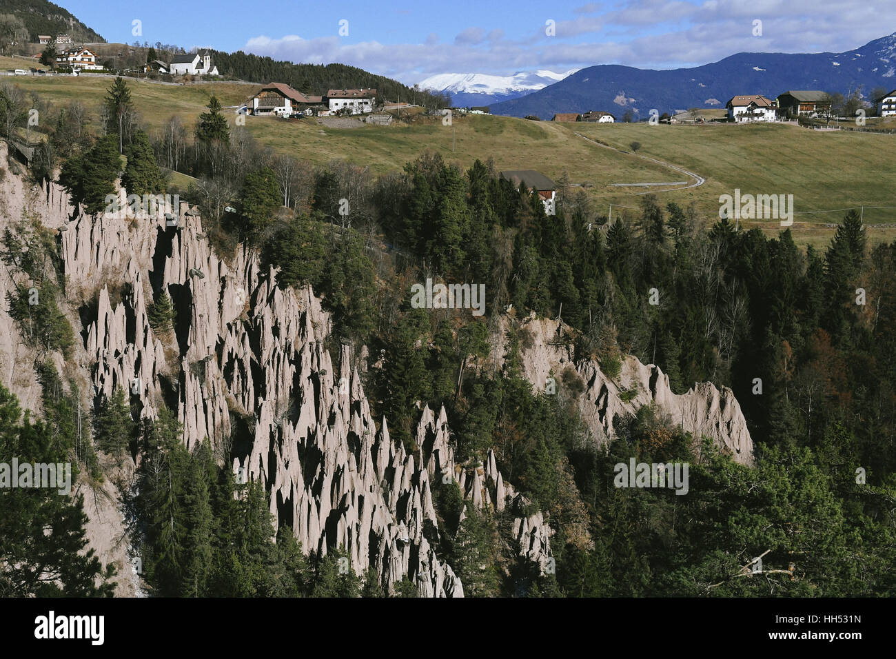 View to Ritten, South Tyrol, Italy, Earth Pyramids - Stock Image