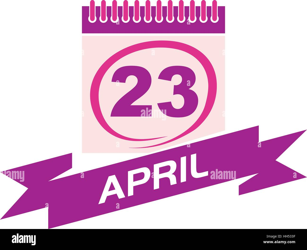 23 April Calendar with Ribbon - Stock Vector