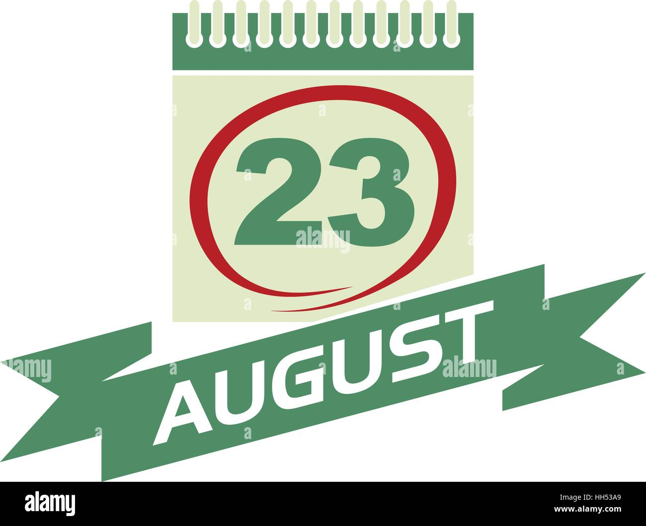 23 August Calendar with Ribbon - Stock Vector