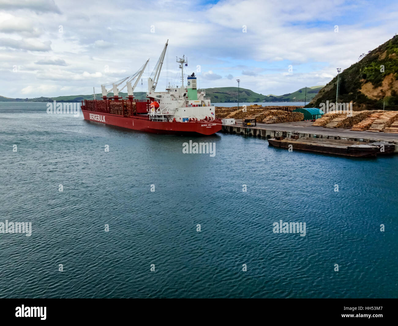 Wooden logs await loading onto ship for export at Port Chalmers, Dunedin, New Zealand - Stock Image