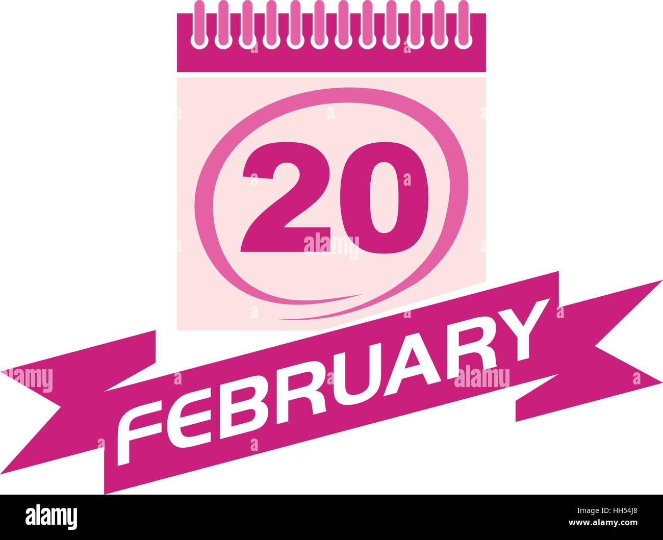 20 February Calendar with Ribbon - Stock Vector