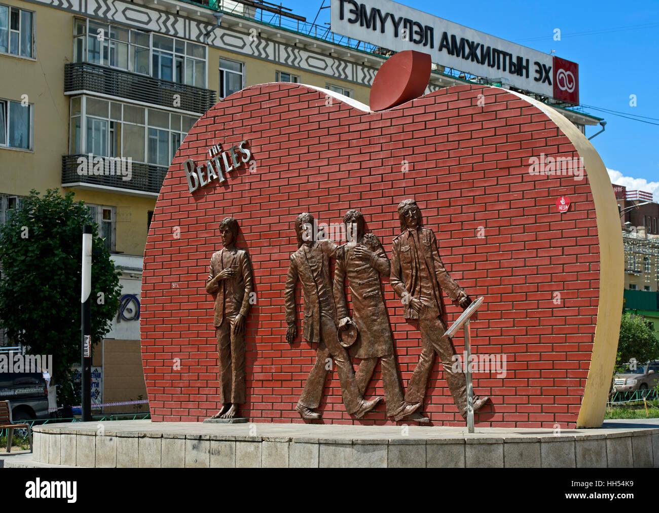 The Beatles monument, Sukhbaatar District, Ulaanbaatar, Mongolia - Stock Image