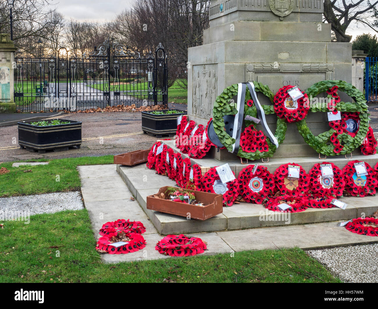 Poppy Wreaths at the War Memorial at Elmfield Park in Doncaster South Yorkshire England - Stock Image