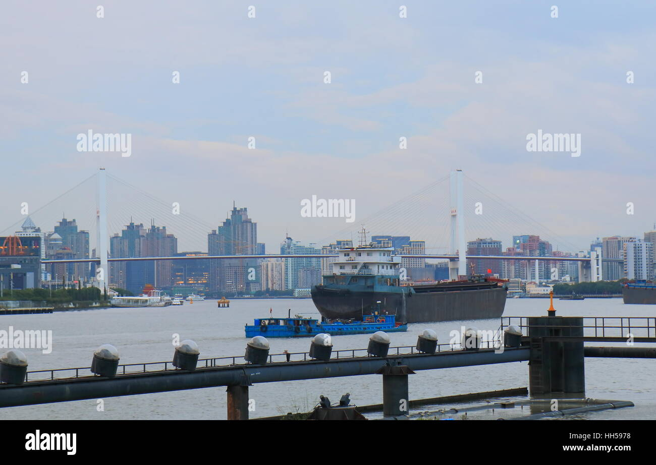 Shanghai industrial port cityscape in Shanghai China. Stock Photo