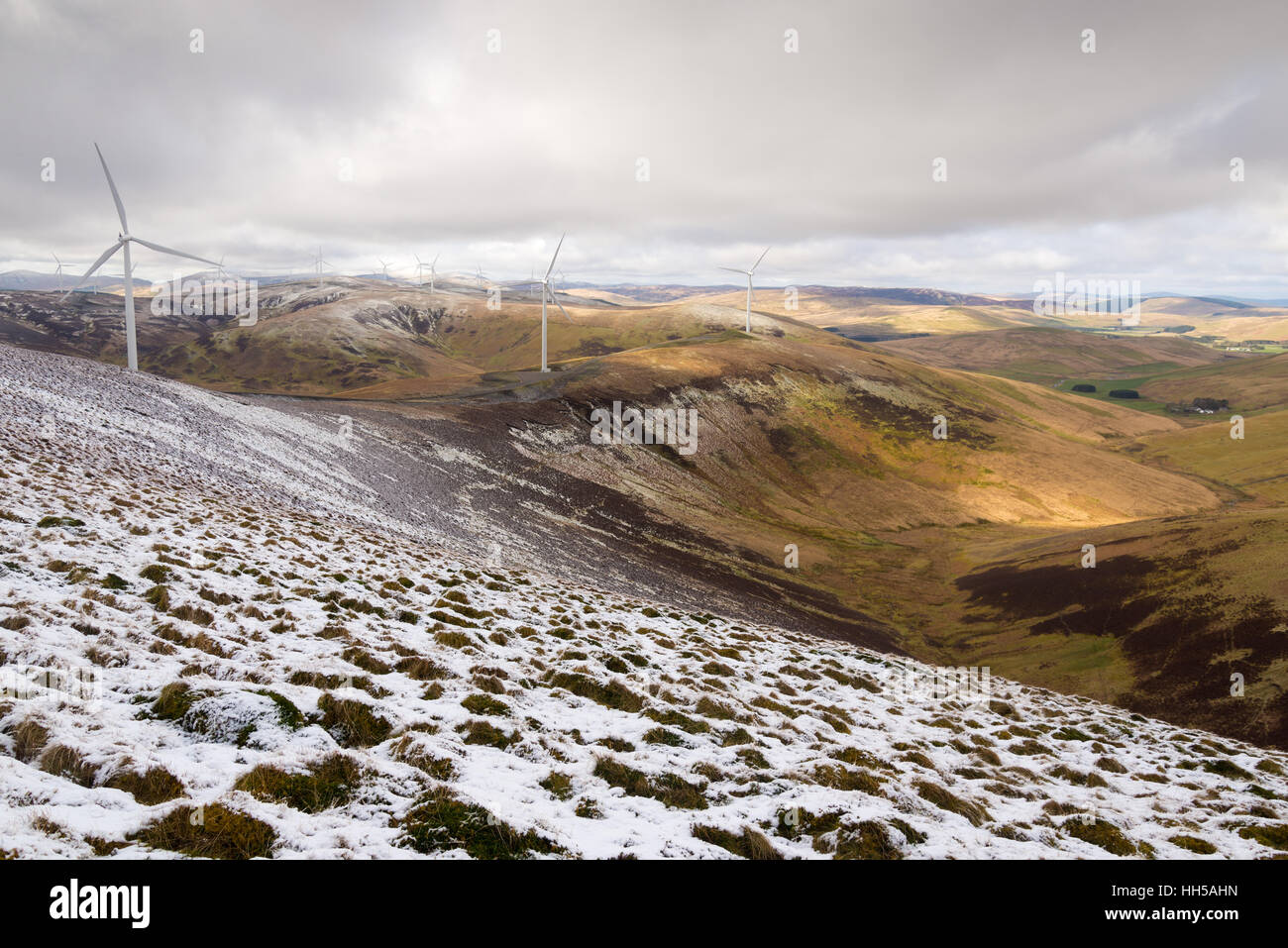 SSE Clyde windfarm in winter from mid hill, crawford, south lanarkshire, scotland - Stock Image