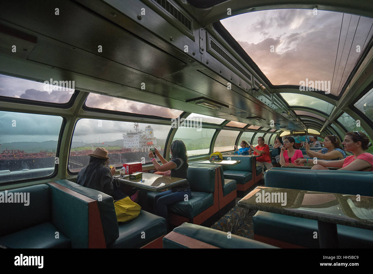 June 28, 2016 Colon, Panama: the interior of Panama Railway train commuting the capital city with Colon - Stock Image