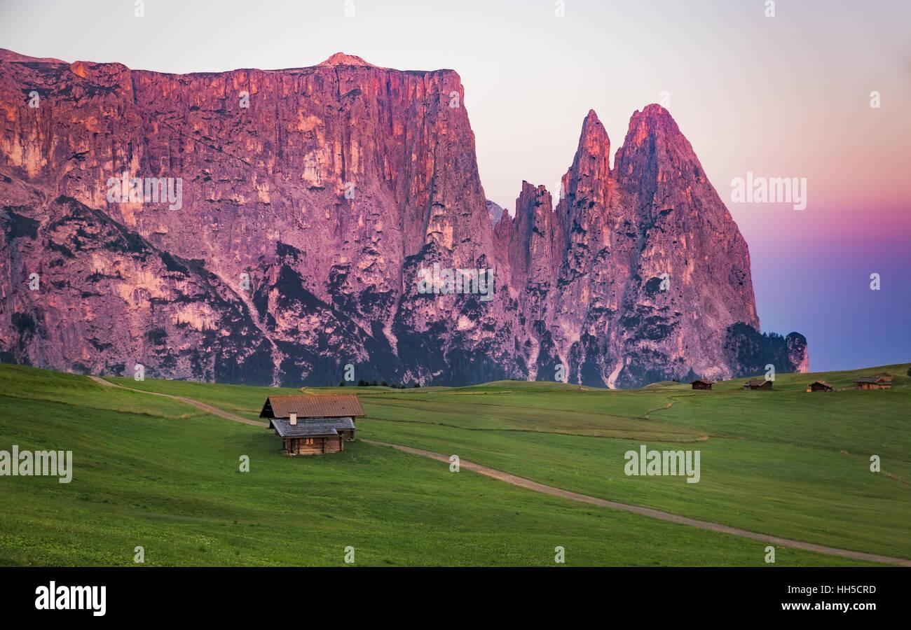 Schlern mountain with alpine hut, Seiser Alm, South Tyrol, Italy Stock Photo
