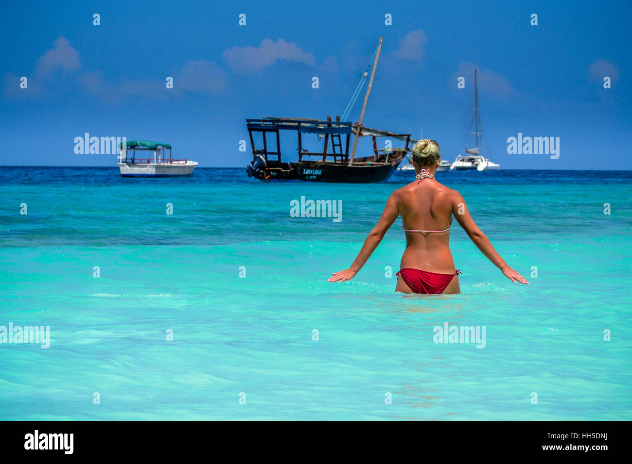 relax on the paradise beach, zanzibar, tanzania - Stock Image