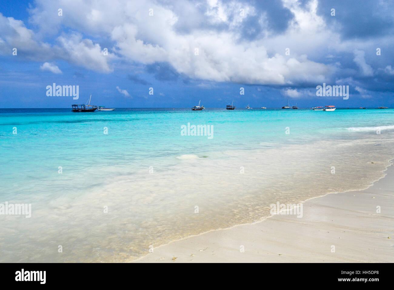 Paradise beach, Africa , Zansibar, india ocean crystal water - Stock Image