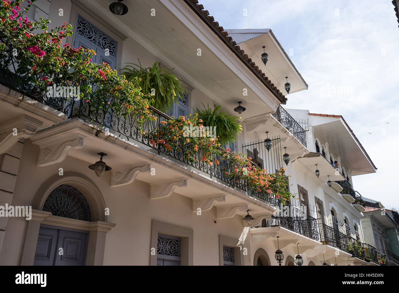 June 15, 2016 Panama City, Panama: closeup of a newly renovated historical building in the Casco Viejo area of the - Stock Image