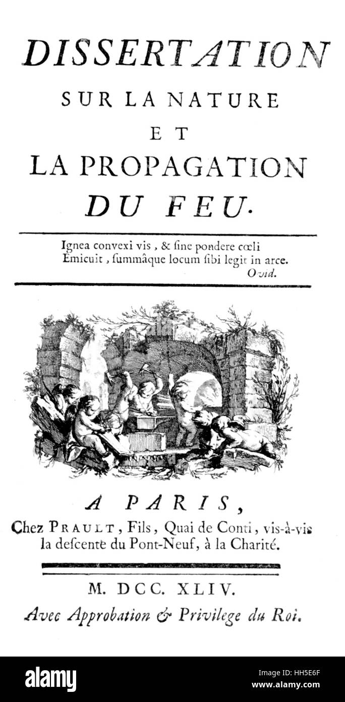 ÉMILIE DU CHÂTELET (1706-1749) French physicist. Title page of her 1744 book on the Nature and Propagation - Stock Image