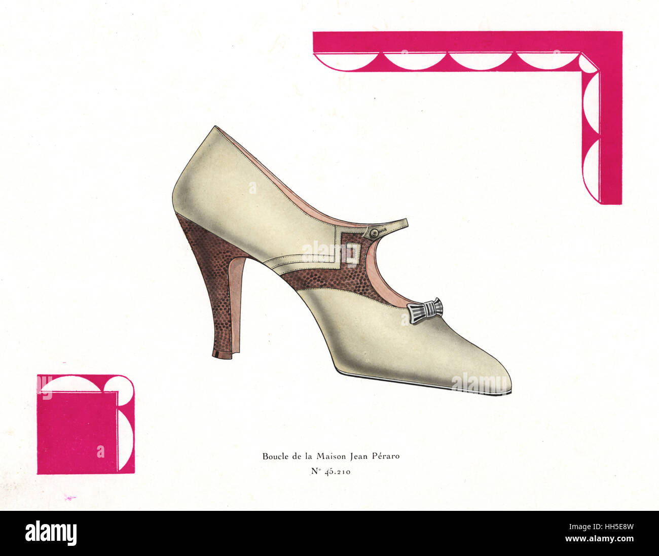 Woman's buckle shoe from Maison Jean Peraro in ivory leather with snakeskin detail in art deco border. Chromolithograph - Stock Image