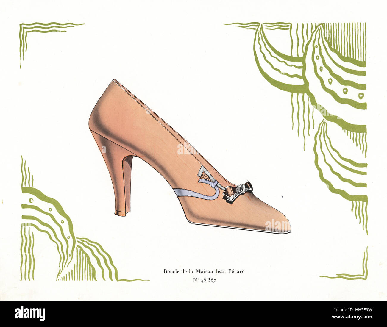 Woman's shoe design in salmon pink leather with buckle from the Maison Jean Peraro within abstract art deco - Stock Image