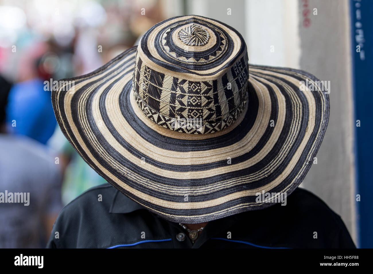 a265ff591f5 man wearing a traditional colombian straw hat called sombrero vueltiao -  Stock Image