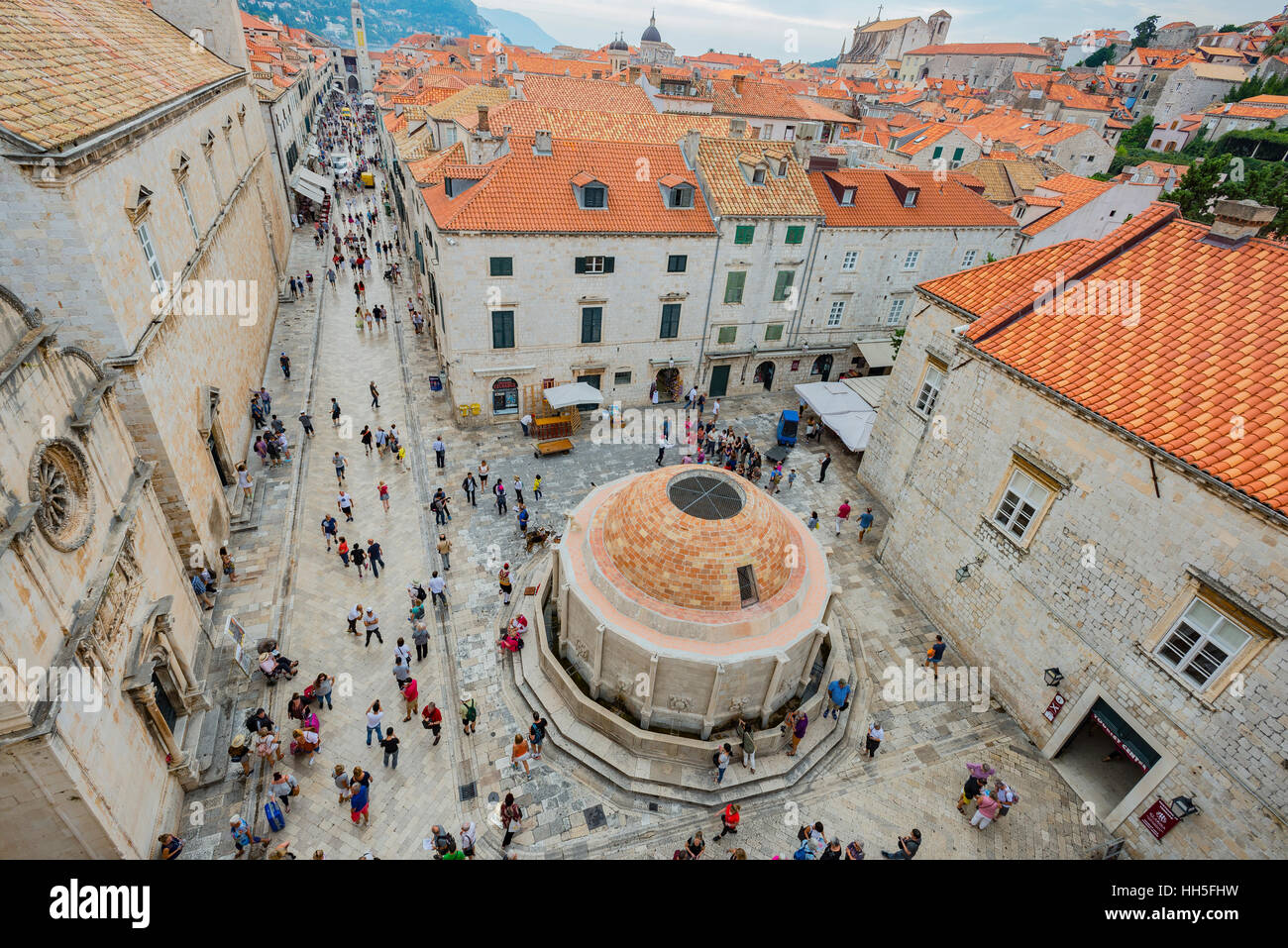 Birdseye view of Dubrovnik's Old City square taken from the top of the ancient wall surrounding the city. - Stock Image