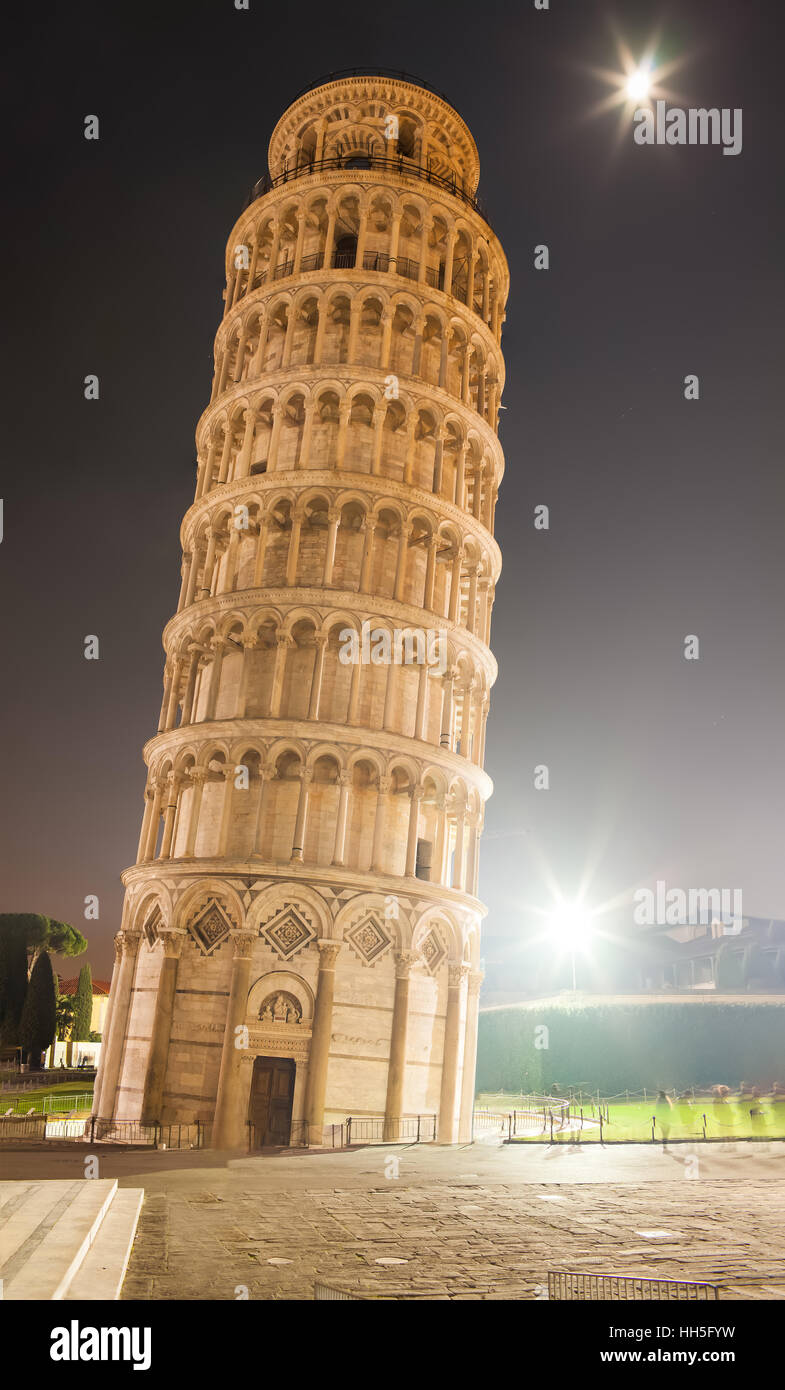 The Leaning Tower By Night Stock Photo