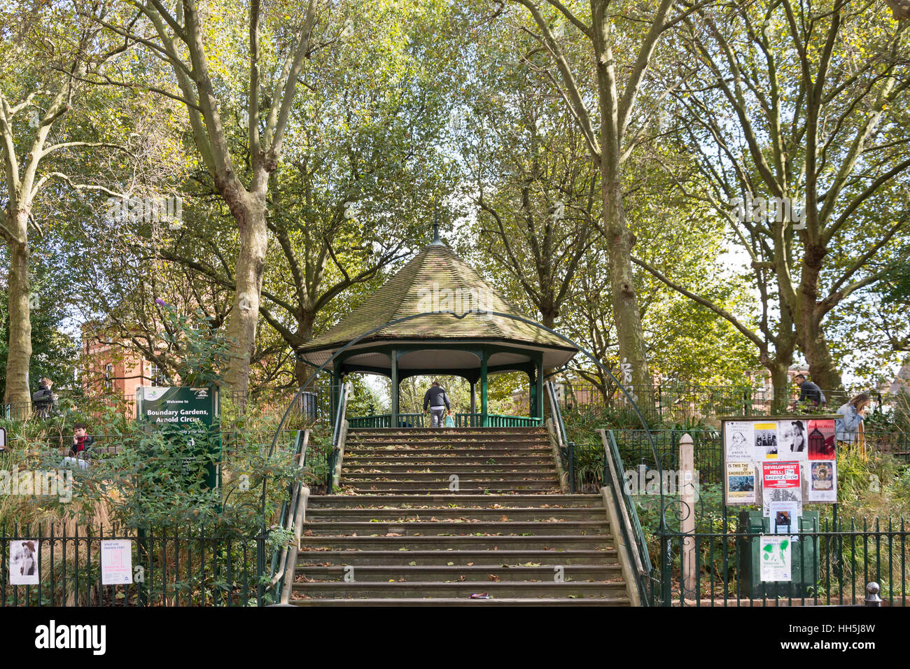 Boundary Gardens, Arnold Circus, Shoreditch, London Borough of Hackney, Greater London, England, United Kingdom - Stock Image