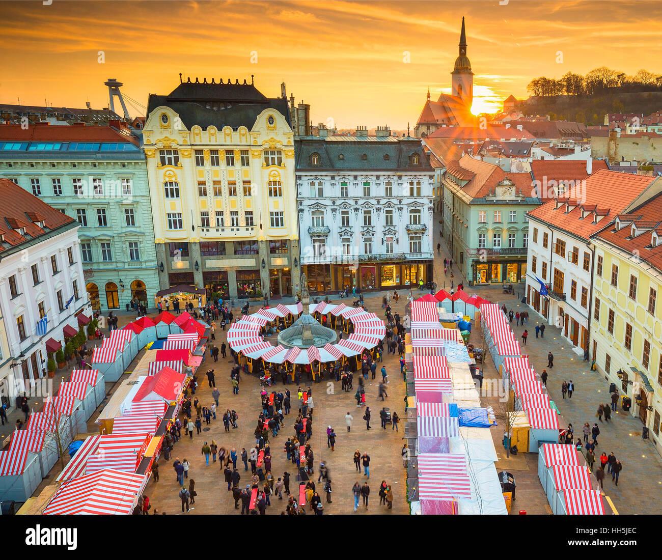 Christmas Bratislava.View On Christmas Market On The Main Square In Bratislava