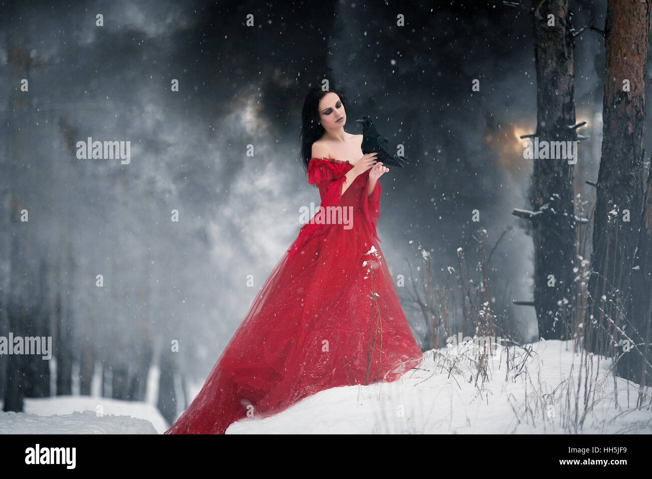 Woman witch in red dress and with raven in her hands in snowy forest ...