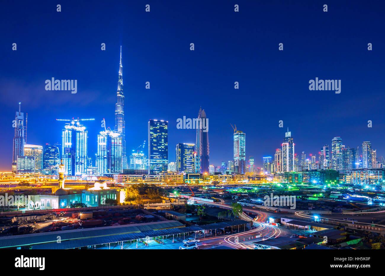 DUBAI FINANCIAL CENTER,UNITED ARAB EMIRATES-FEBRUARY 28, 2016: View on skyline of Dubai Financial Center with modern - Stock Image