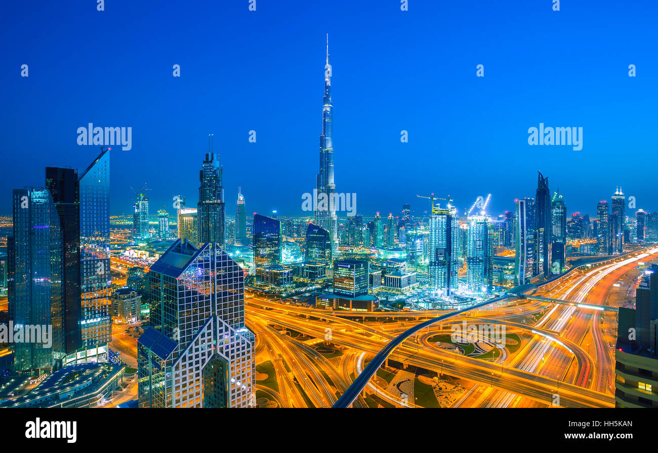 DUBAI ,UNITED ARAB EMIRATES-MARCH 5, 2016: Dubai skyline with city center lights Sheikh Zayed road traffic,Dubai - Stock Image