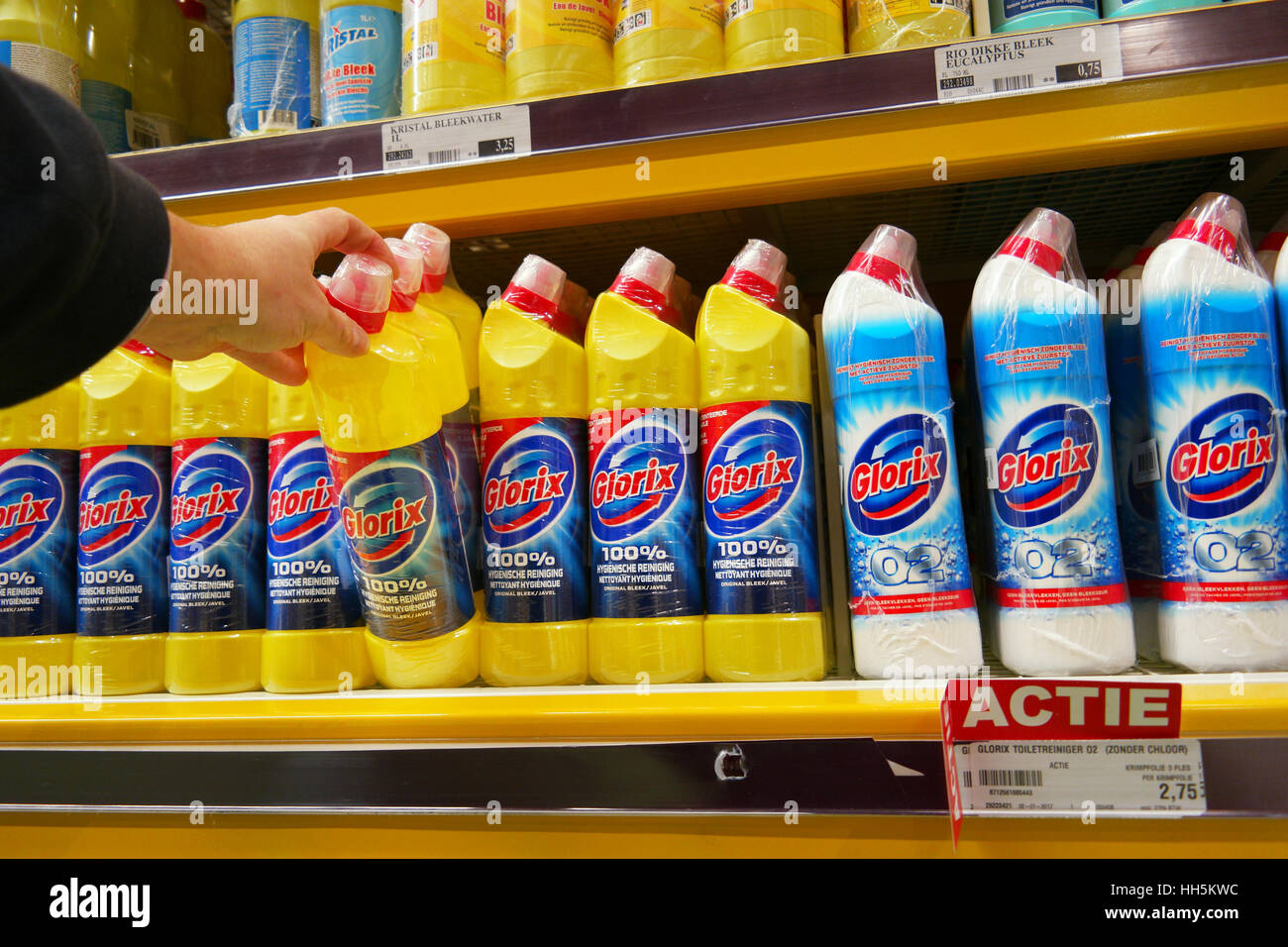 Glorix is a household cleaning range which contains bleach - Stock Image
