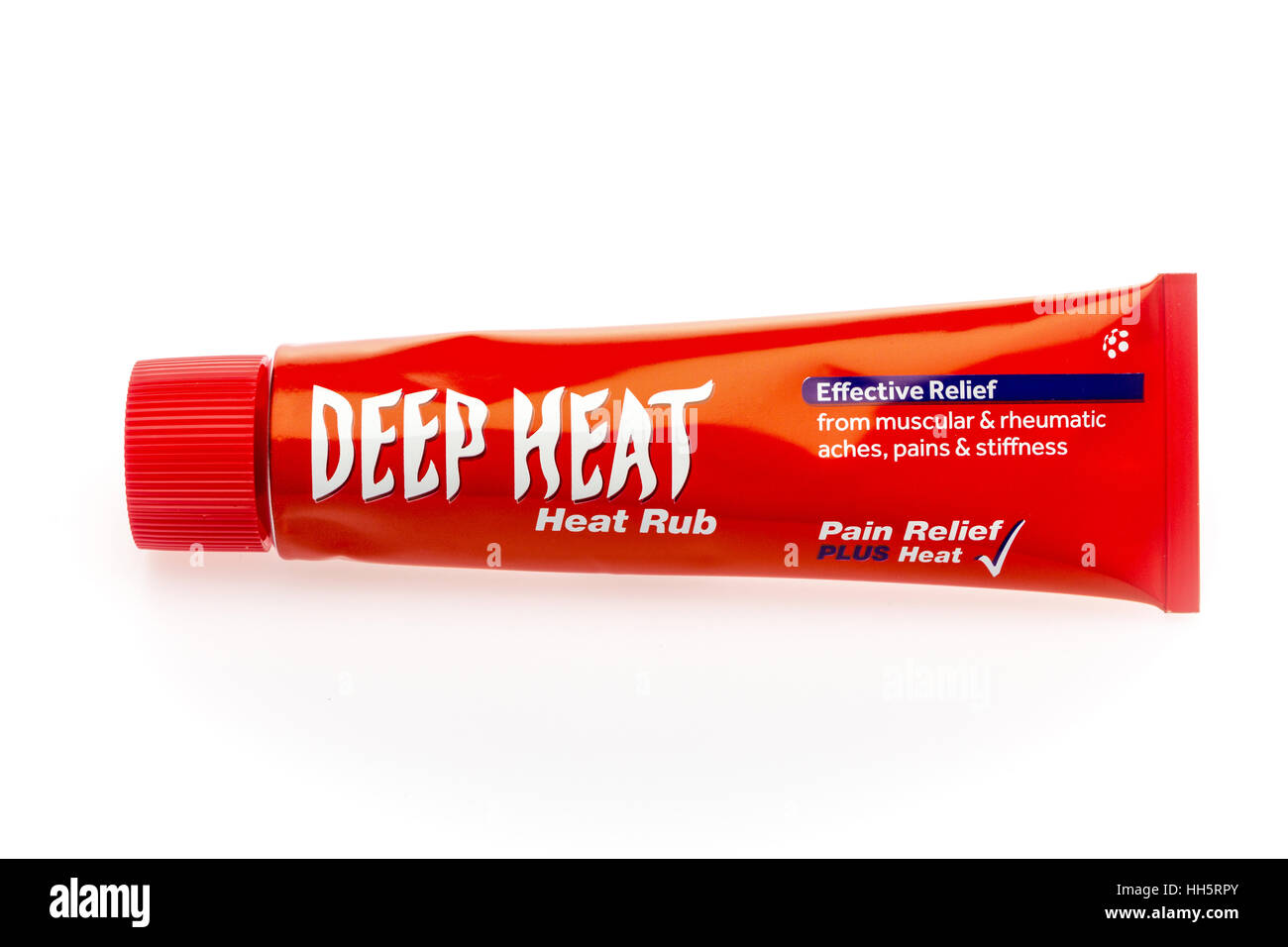 Tube of Deep Heat cream against a white background - Stock Image