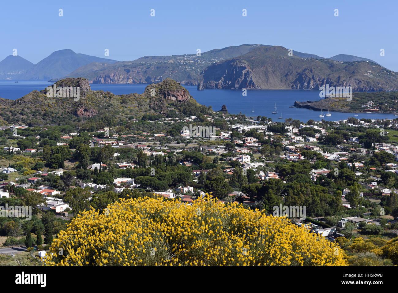 View of Lipari and Salina from the climb up Vulcano Island Stock Photo