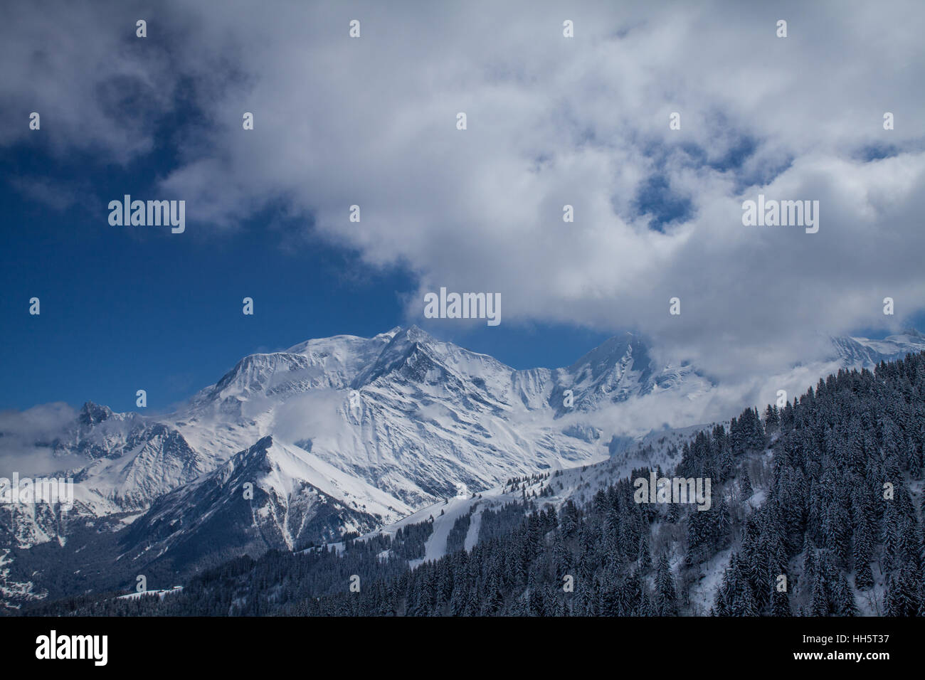 Mont Blanc ski resort - Stock Image