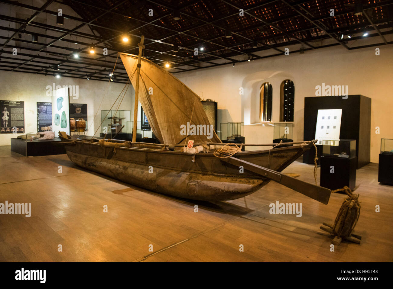 Displays in National Maritime Archaeology Museum housed in former Dutch warehouse, Galle Fort, Galle, Sri Lanka - Stock Image