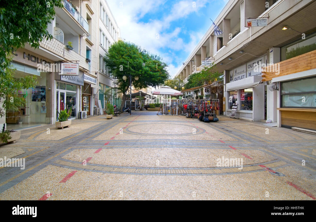 sidewalk with shops at Ledras street Nicosia Cyprus - Stock Image