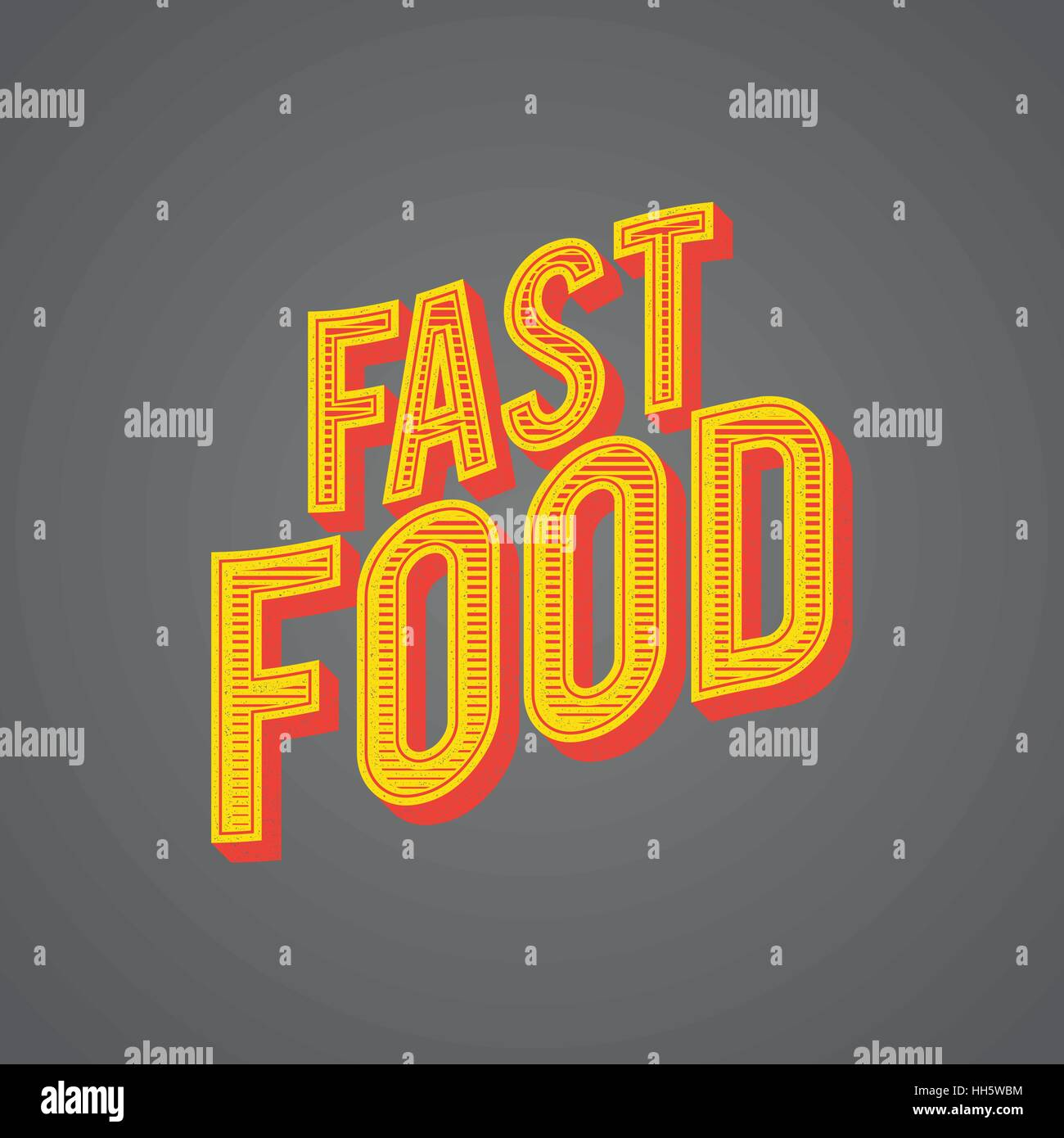 Graphic Vector Illustration Fast Food Word Concept - Stock Vector