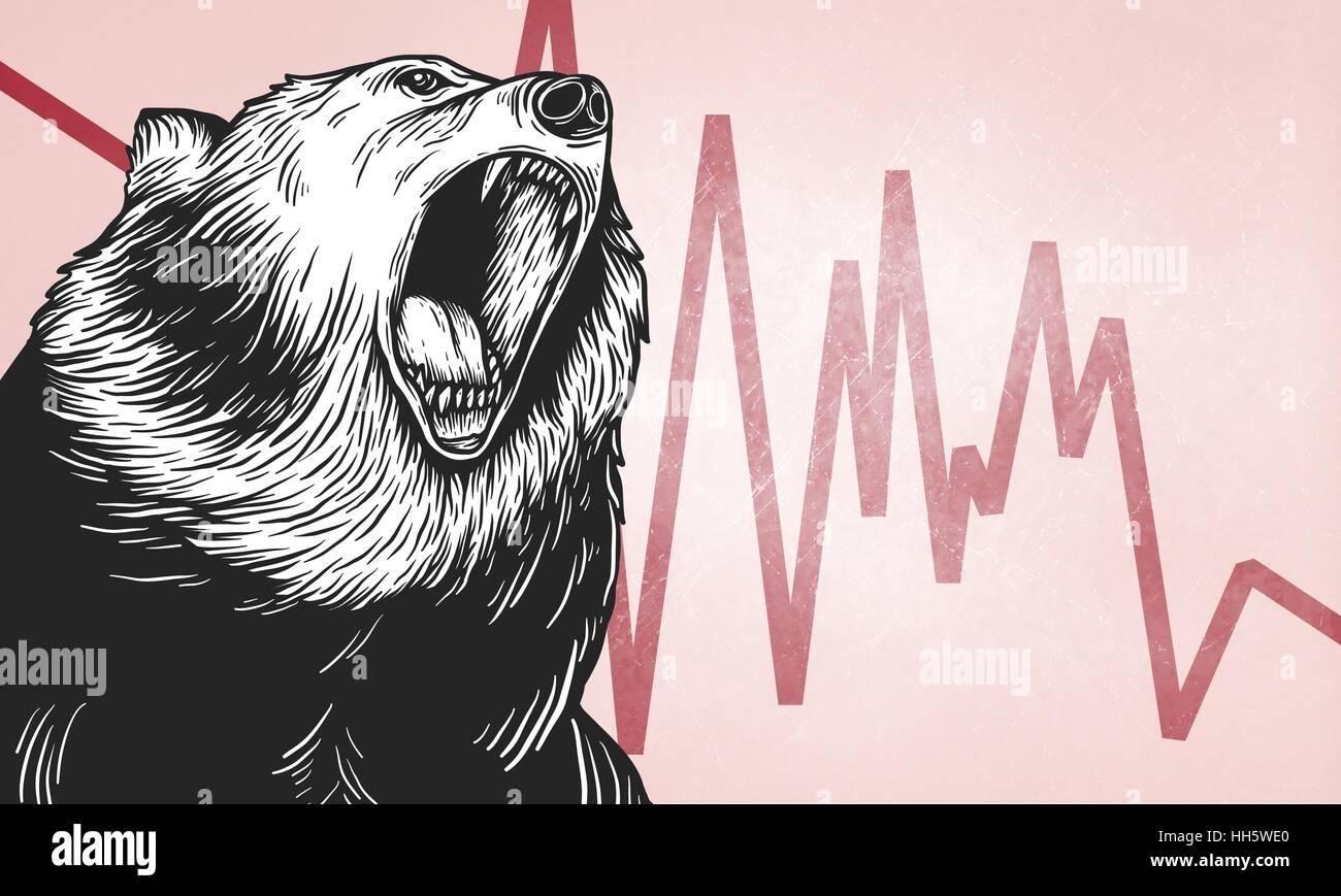 Bear Market Icon Symbol Vector Concept Stock Vector