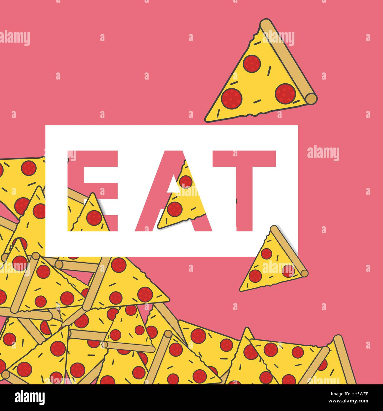 Pizza Junk Food Word Icon Concept - Stock Vector