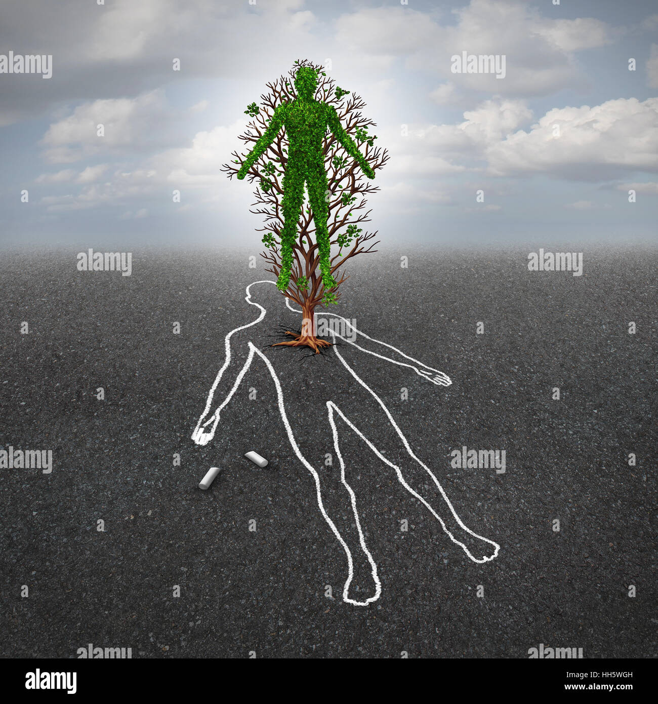Life after death concept and afterlife symbol or renewal hope metaphor as a tree shaped as a human growing from - Stock Image