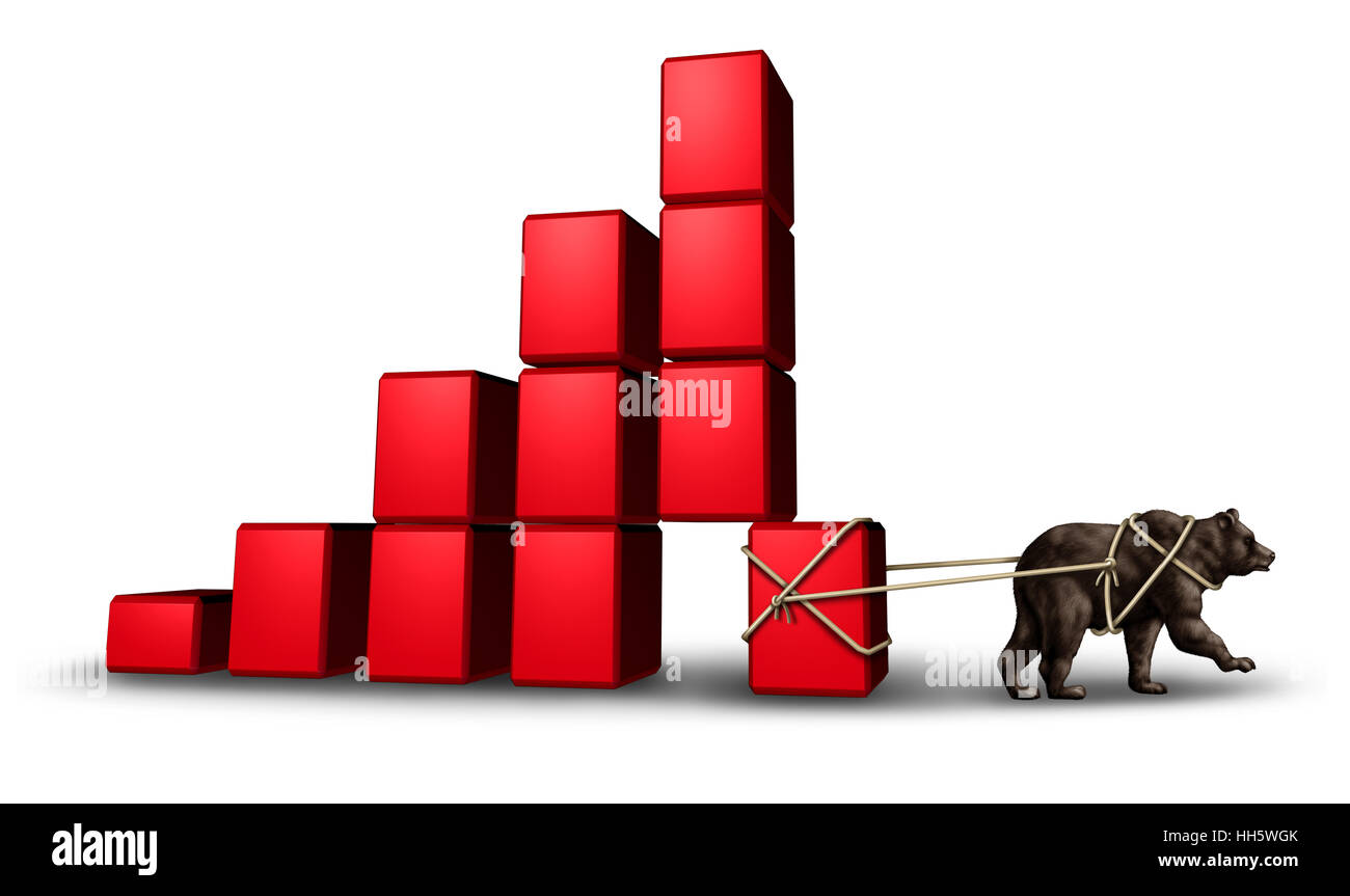 Bear economy and economic stress as a financial concept with a group of blocks shaped as a finance chart going down - Stock Image