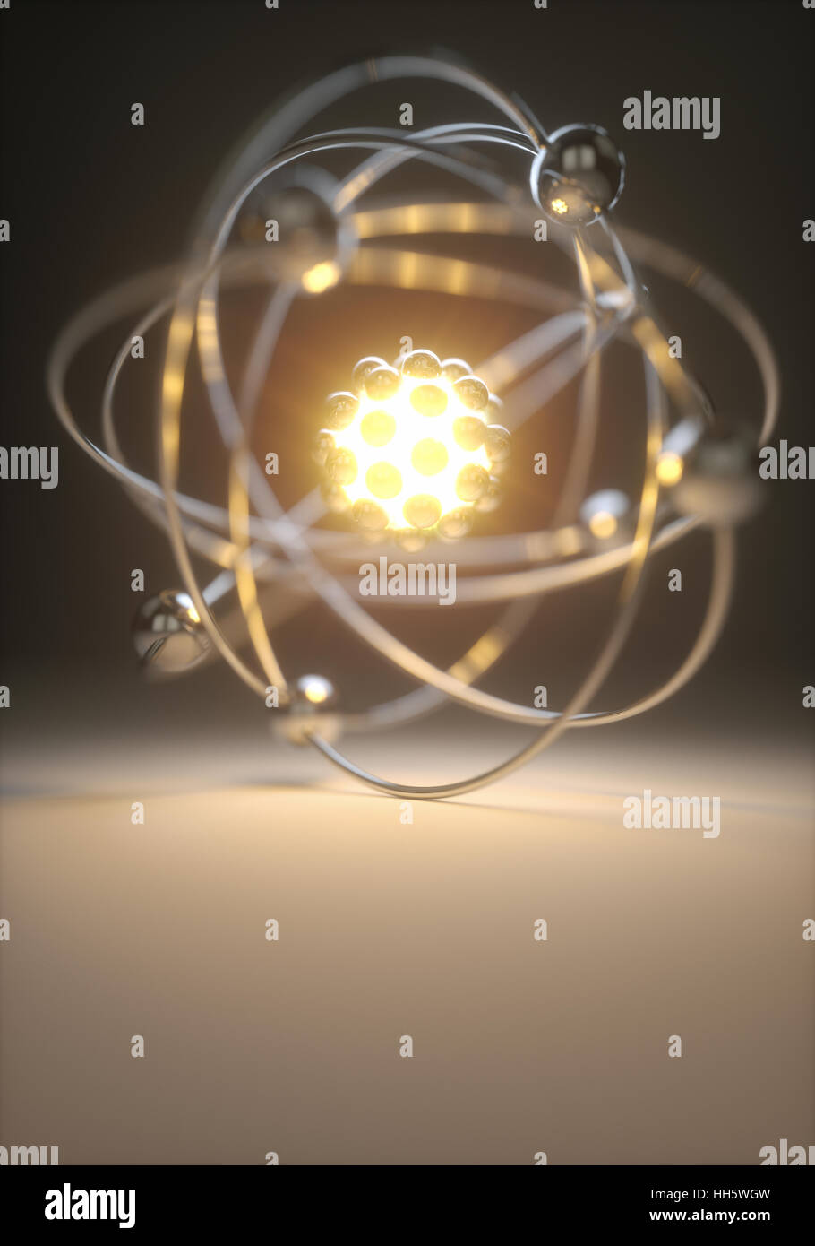 Concept image of a nuclear atomic model with nuclear fusion. Stock Photo