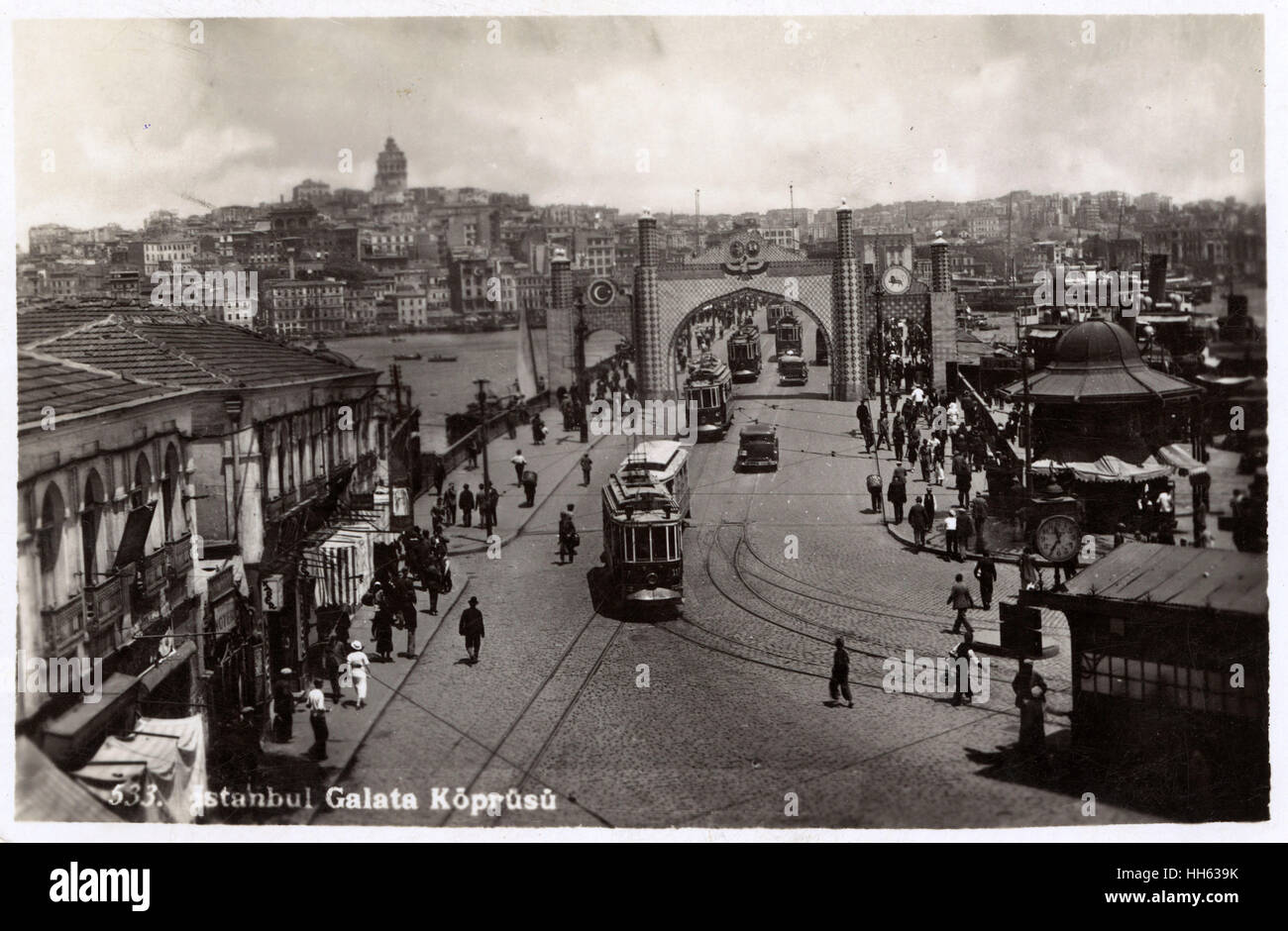 Galata Bridge, Istanbul, Turkey with Tram and temporary ceremonial gateway for an official visit by an unknown European - Stock Image