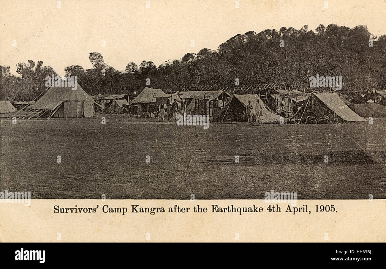 Kangra survivors' camp, Himachal Pradesh, India, after the earthquake of 4 April 1905, which killed more than - Stock Image