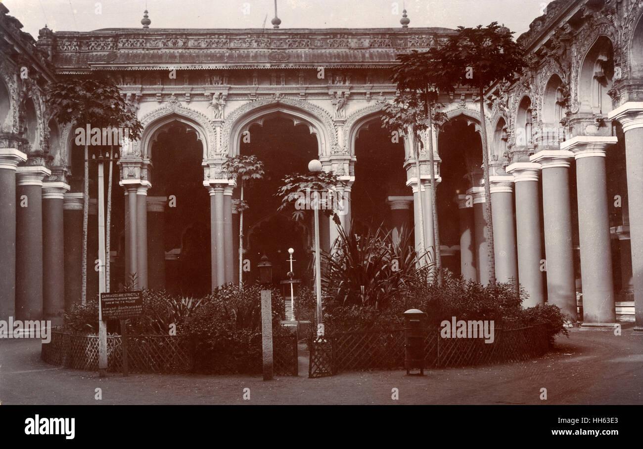 Courtyard of Thirumalai Nayak Palace, Madurai, Tamil Nadu, India, dating back to the 17th century. - Stock Image