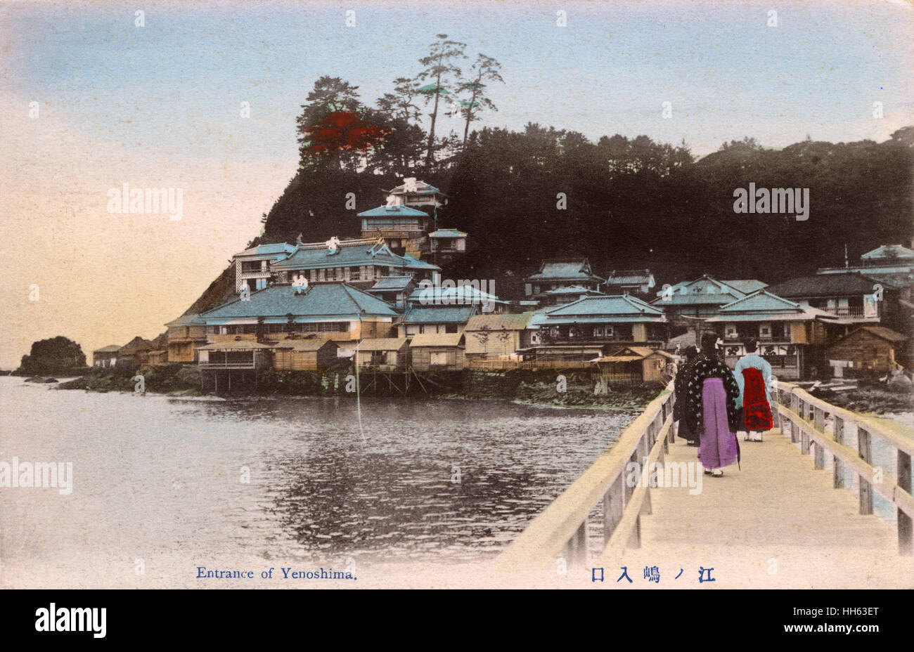Enoshima, a small offshore island, about 4 km in circumference, at the mouth of the Katase River, which flows into - Stock Image
