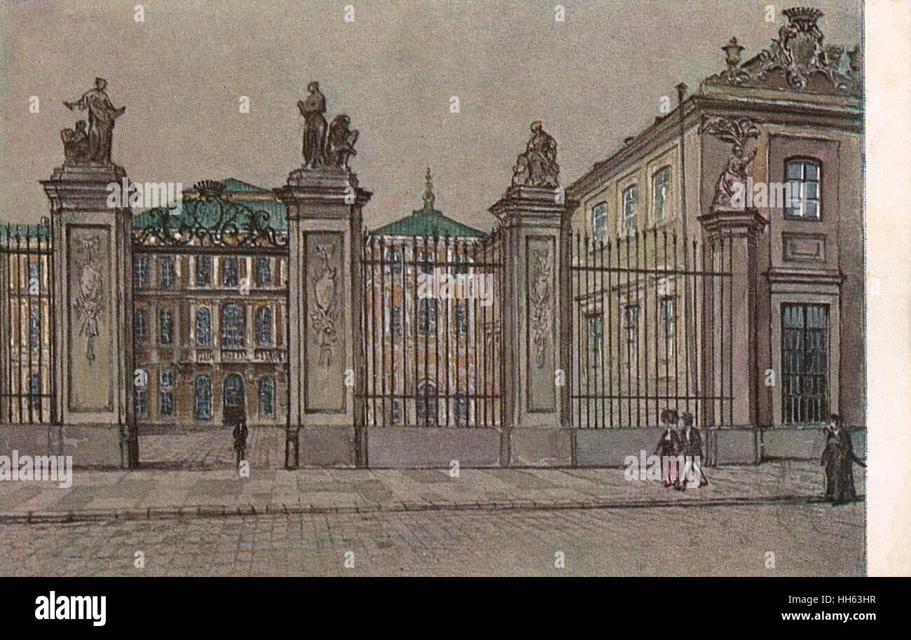 The Bruhl Palace (Polish: Palac Bruhla), otherwise known as Sandomierski Palace was a palace standing at Pilsudski - Stock Image