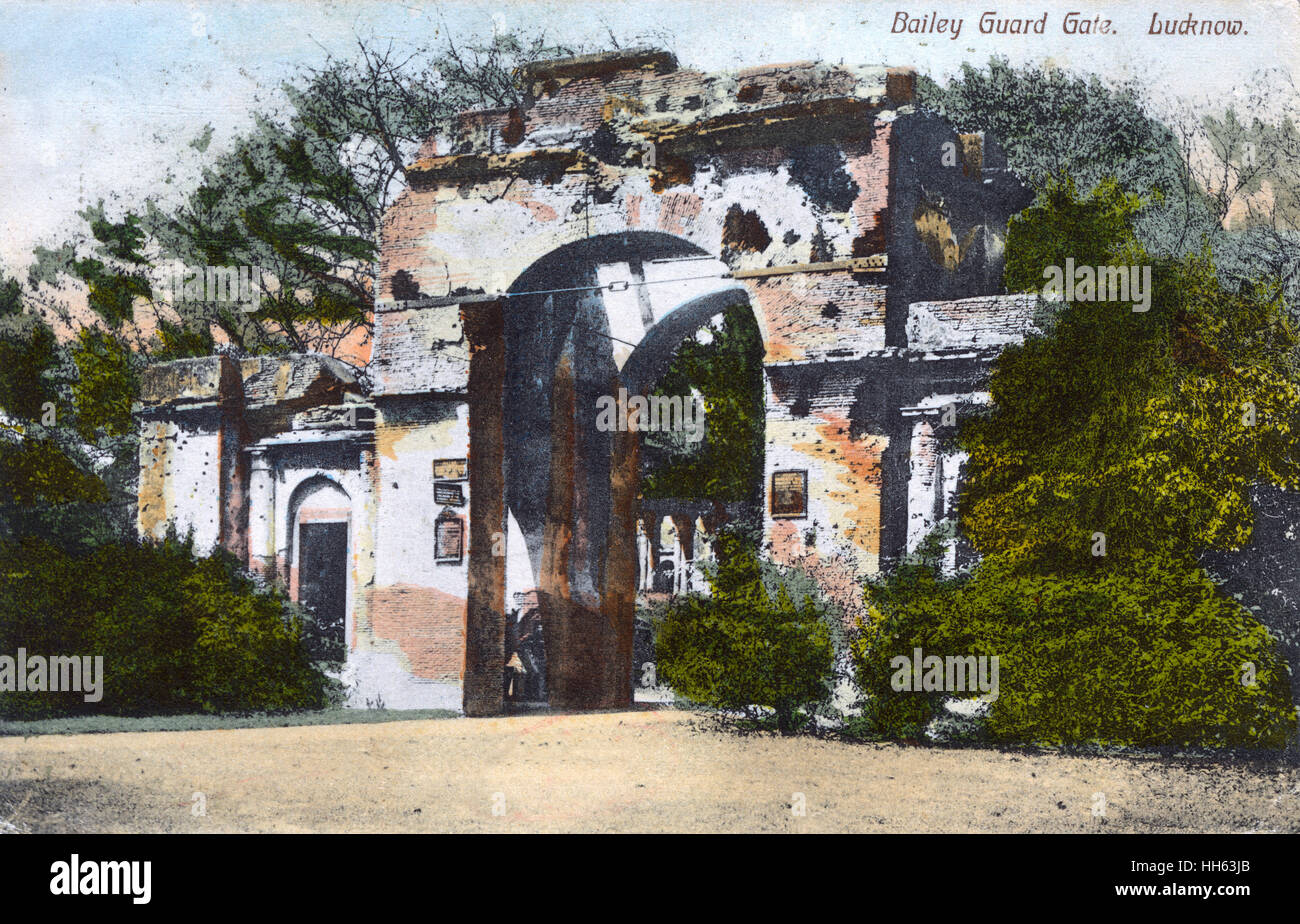 Bailey (Baillie) Guard Gate, main entrance to the British Residency in Lucknow, Uttar Pradesh, India, showing damaged - Stock Image