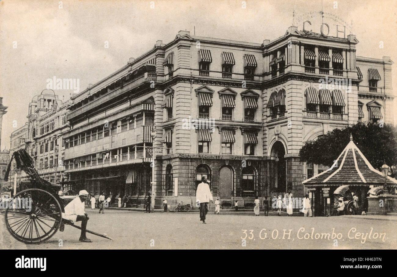 Grand Oriental Hotel, York Street, Colombo, Ceylon (Sri Lanka). - Stock Image